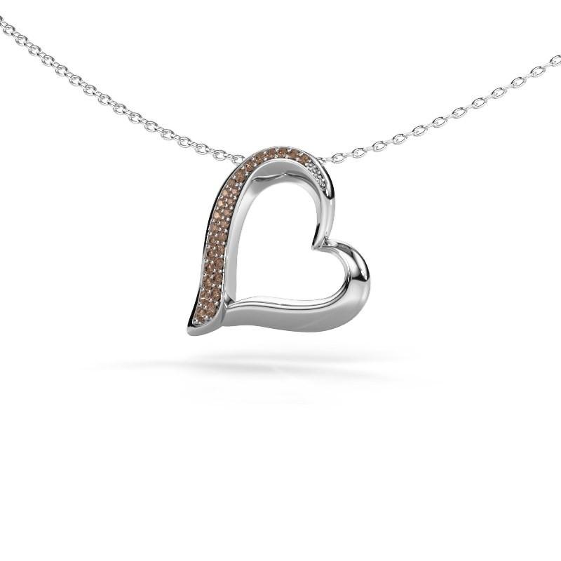 Halsketting Heart 1 925 zilver bruine diamant 0.134 crt
