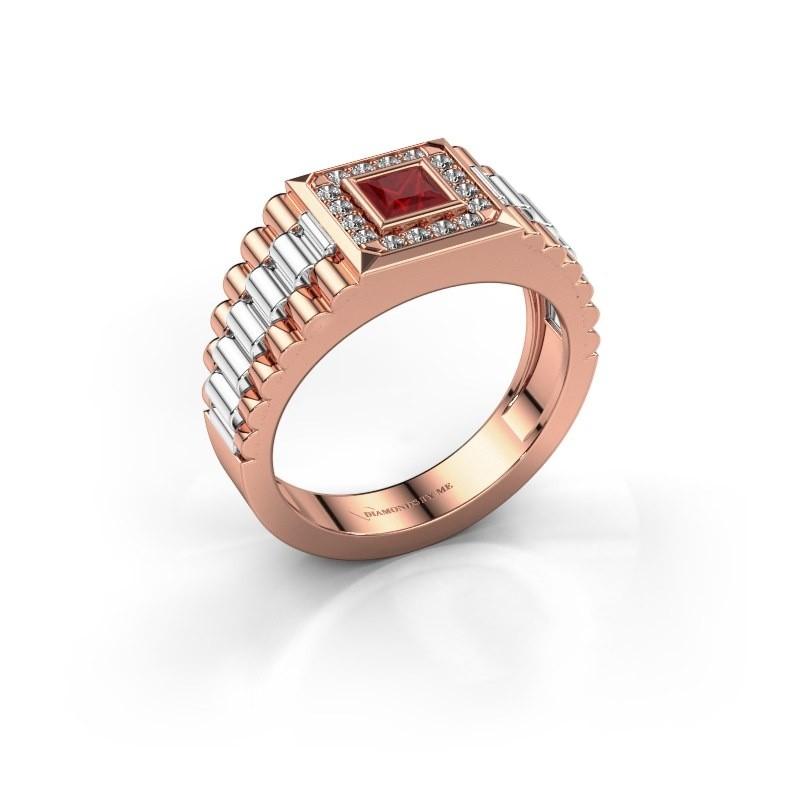 Heren ring Zilan 585 rosé goud robijn 4 mm