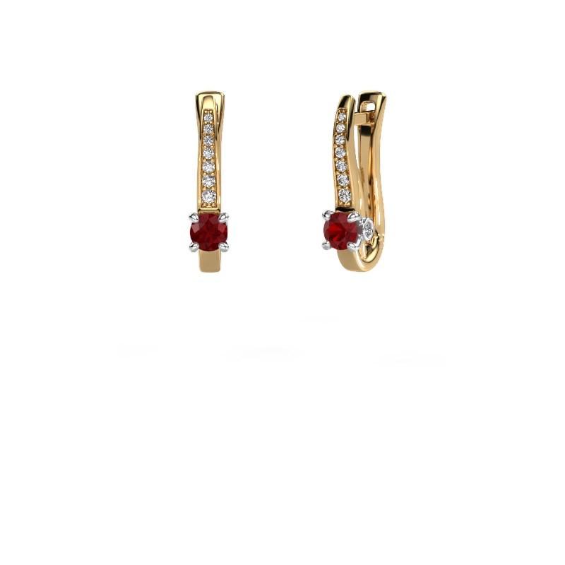 Oorbellen Valorie 585 goud robijn 4 mm