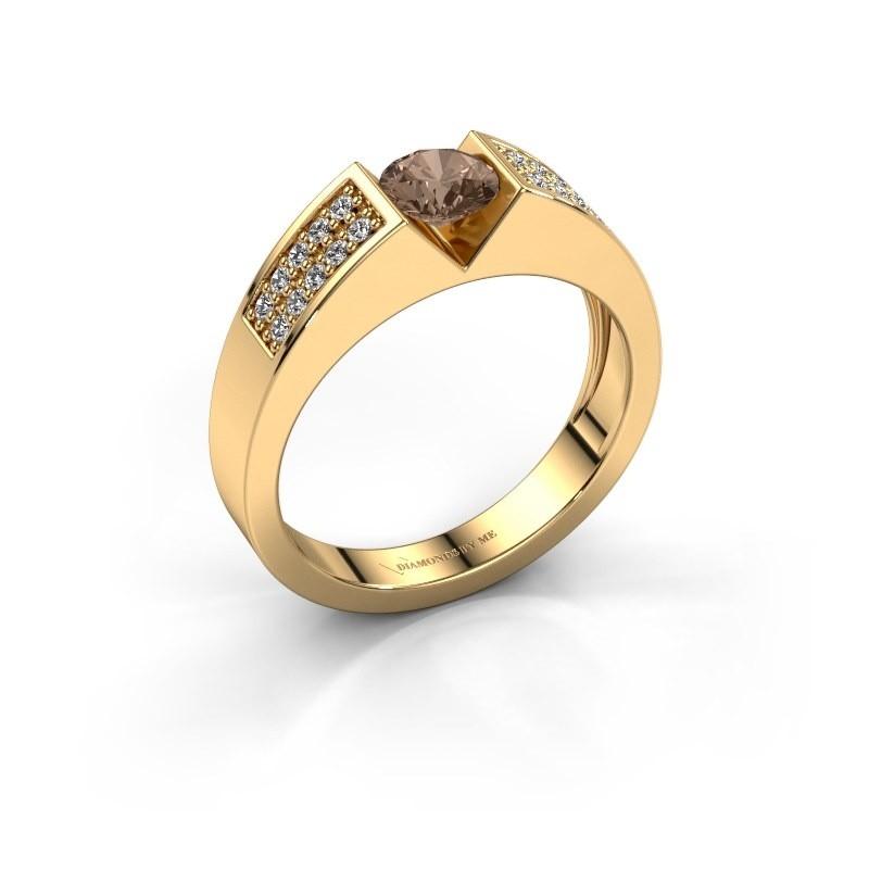 Verlovingsring Lizzy 3 375 goud bruine diamant 0.65 crt
