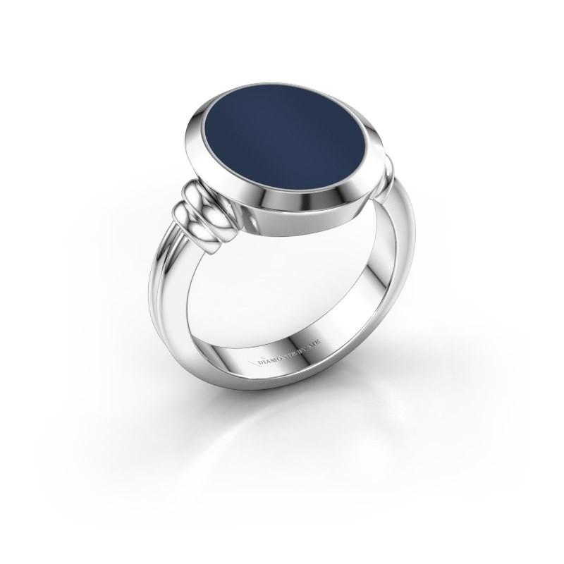 Zegelring Jake 3 925 zilver donker blauw lagensteen 15x12 mm