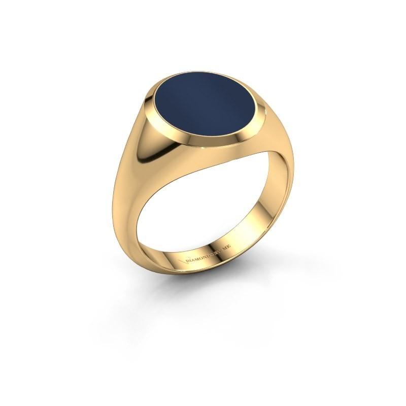 Zegelring Herman 3 375 goud donker blauw lagensteen 13x11 mm