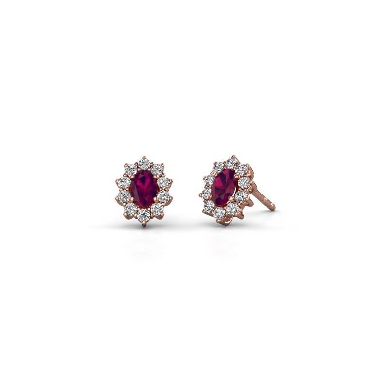 Earrings Leesa 375 rose gold rhodolite 6x4 mm