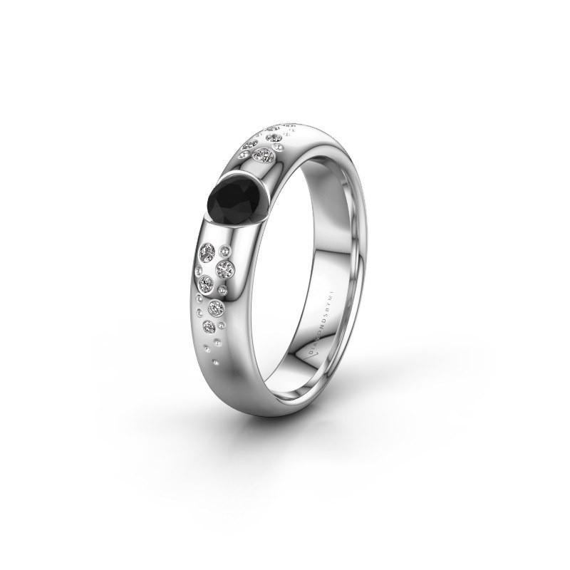 Trouwring WH2104L34A 585 witgoud zwarte diamant ±4x1.7 mm