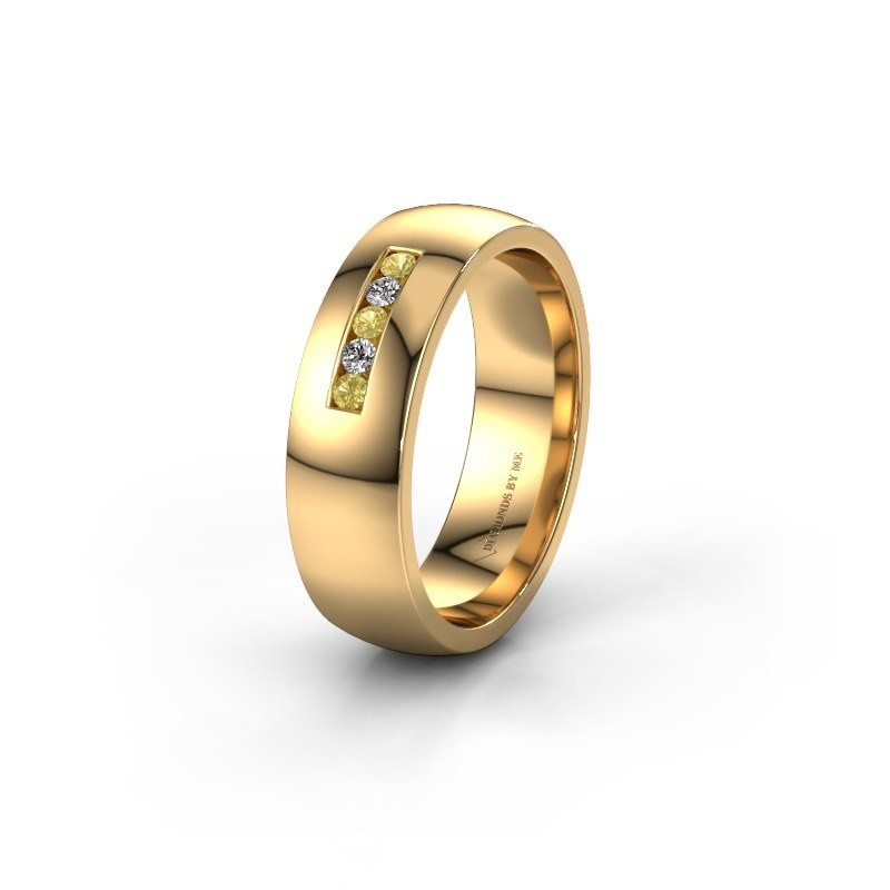 Wedding ring WH0107L26BP 585 gold yellow sapphire ±6x2 mm