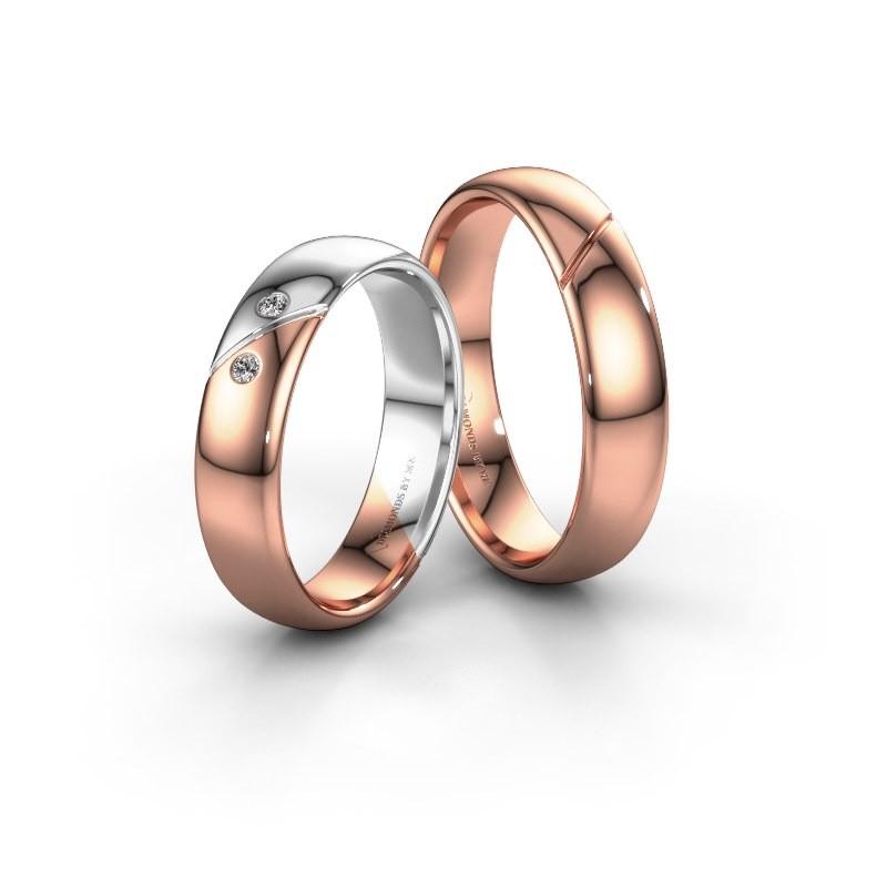 Trouwringen set WH1201LM35A2SP ±5x1.7 mm 14 karaat rosé goud diamant 0.015 crt