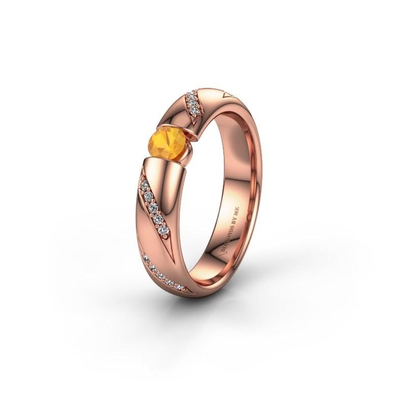Trouwring WH2102L34A 375 rosé goud citrien ±4x1.7 mm