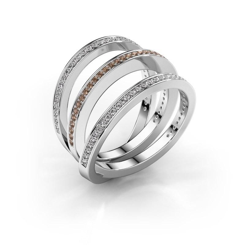 Ring Jaqueline 950 platina bruine diamant 0.55 crt