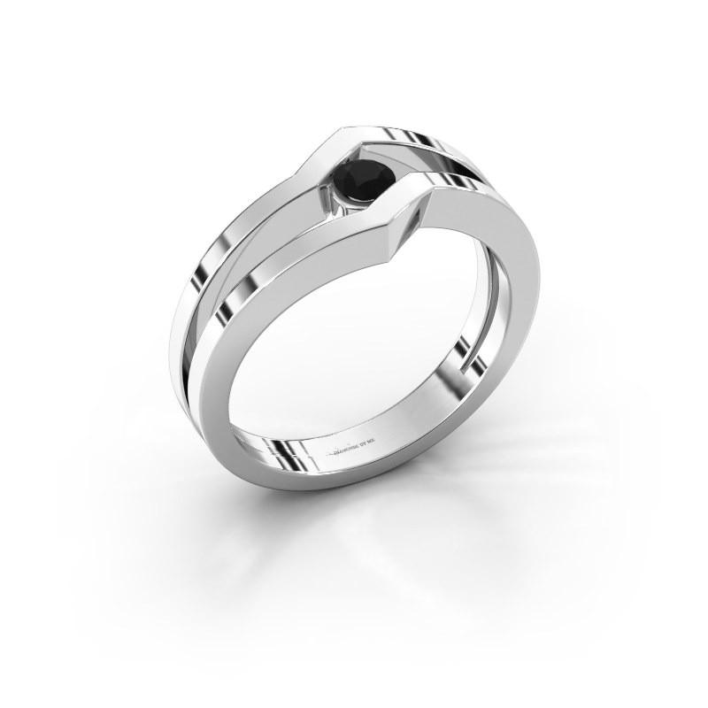 Bague Elize 925 argent diamant noir 0.18 crt