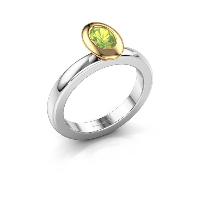 Stapelring Trudy Oval 585 witgoud peridoot 6x4 mm