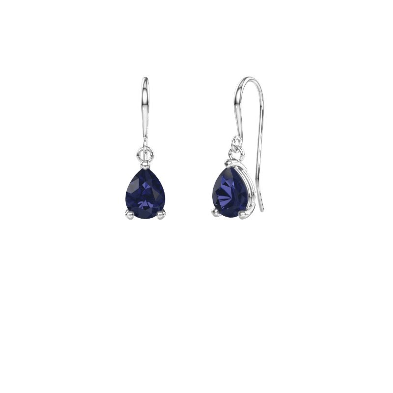 Drop earrings Laurie 1 375 white gold sapphire 8x6 mm