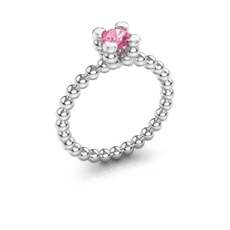 Ring Aurore 585 witgoud roze saffier 5 mm