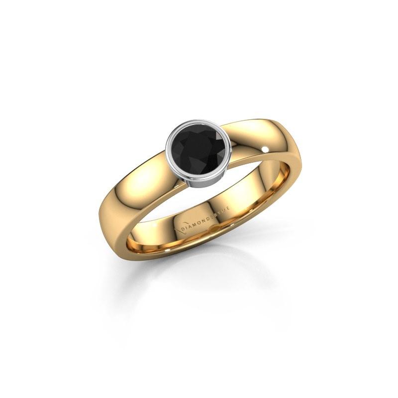 Ring Ise 1 585 goud zwarte diamant 0.48 crt