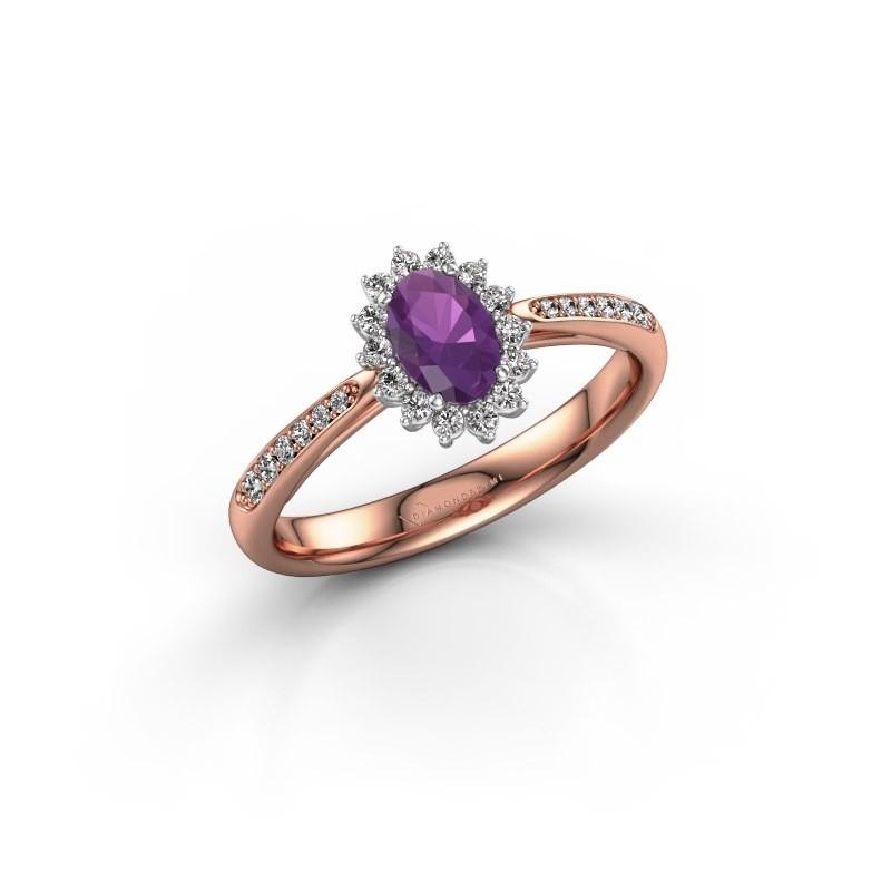 Engagement ring Tilly ovl 2 585 rose gold amethyst 6x4 mm