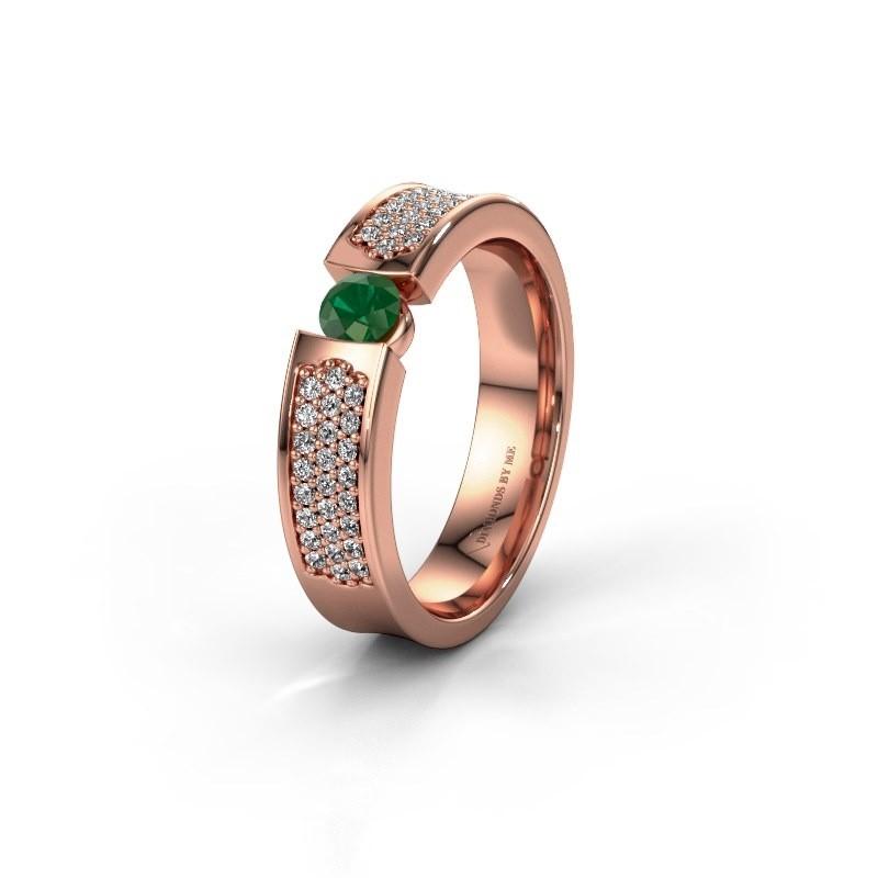 Trouwring WH2100L 375 rosé goud smaragd ±5x3 mm