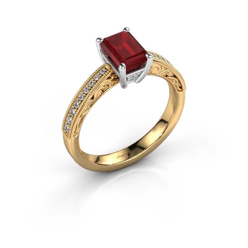 Verlovingsring Shonta EME 585 goud robijn 7x5 mm