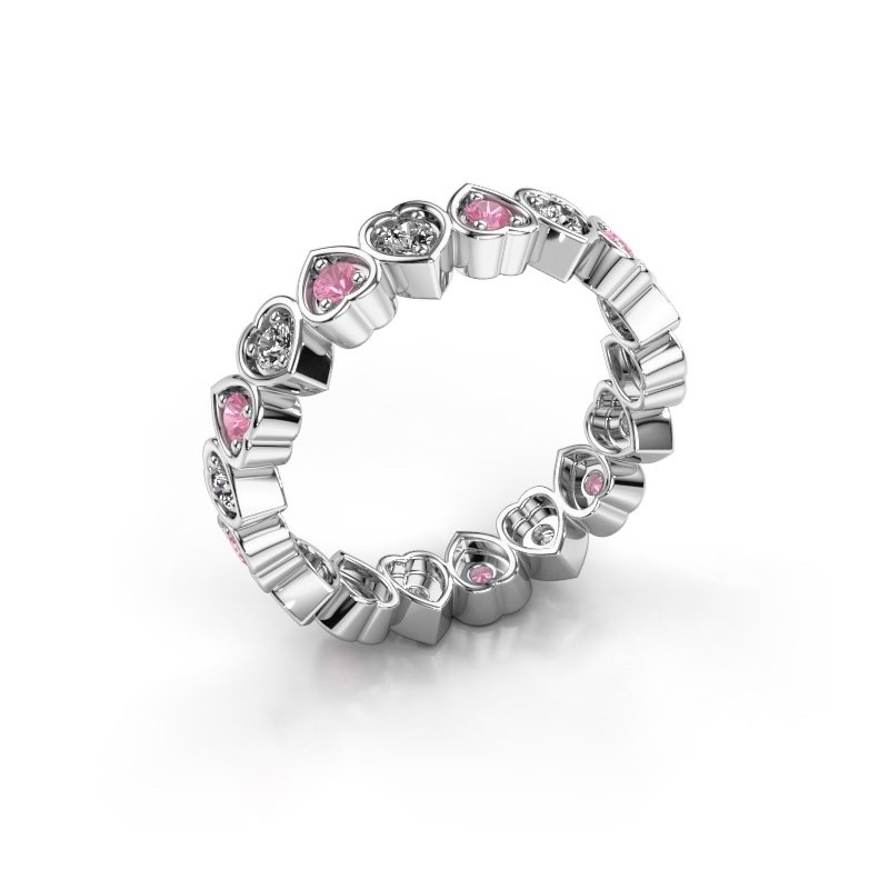 Stackable ring Pleun 375 white gold pink sapphire 2 mm