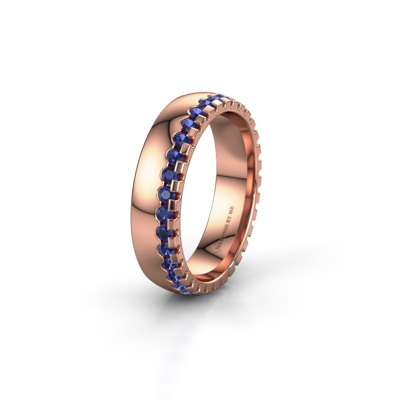 Wedding ring WH6122L25B 375 rose gold sapphire ±5x2 mm