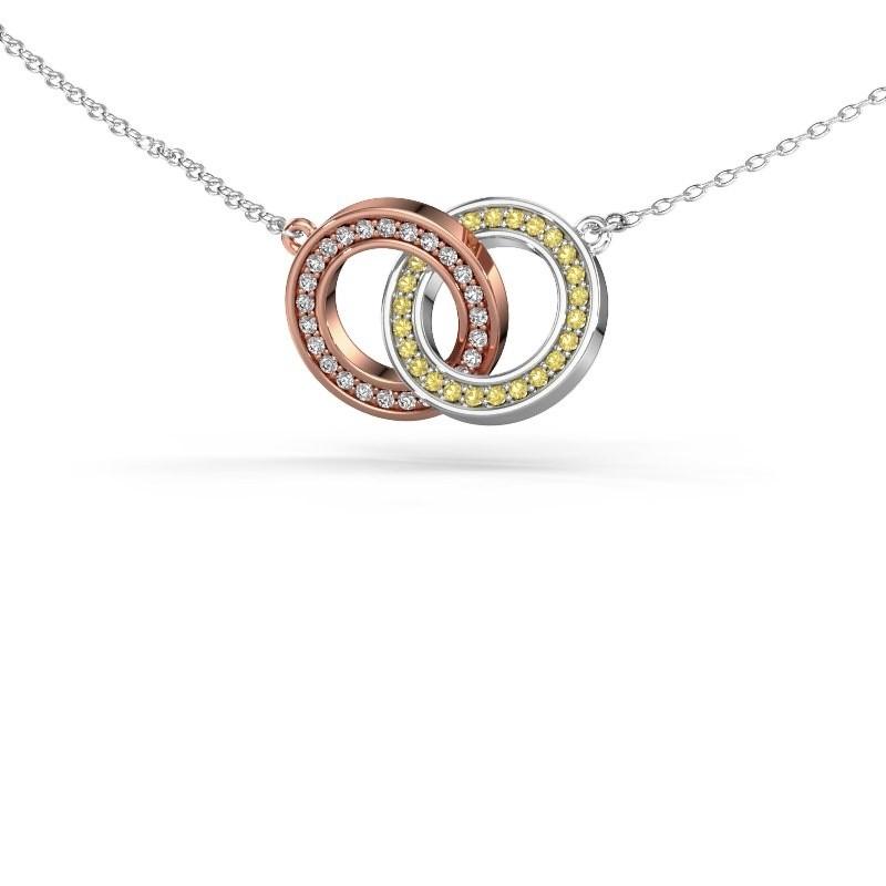 Halsketting Circles 2 585 rosé goud gele saffier 1 mm