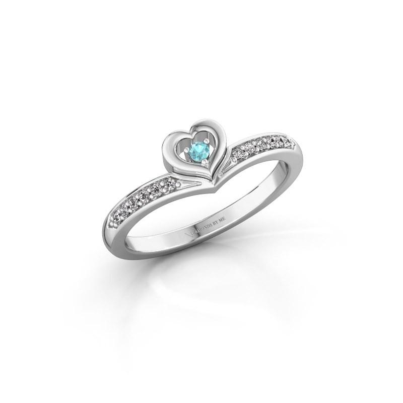 Ring Mimi 950 platina blauw topaas 2 mm