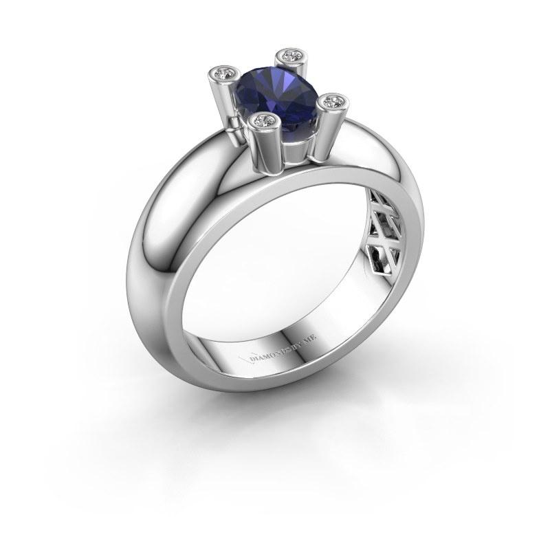 Ring Cornelia Oval 585 white gold sapphire 7x5 mm