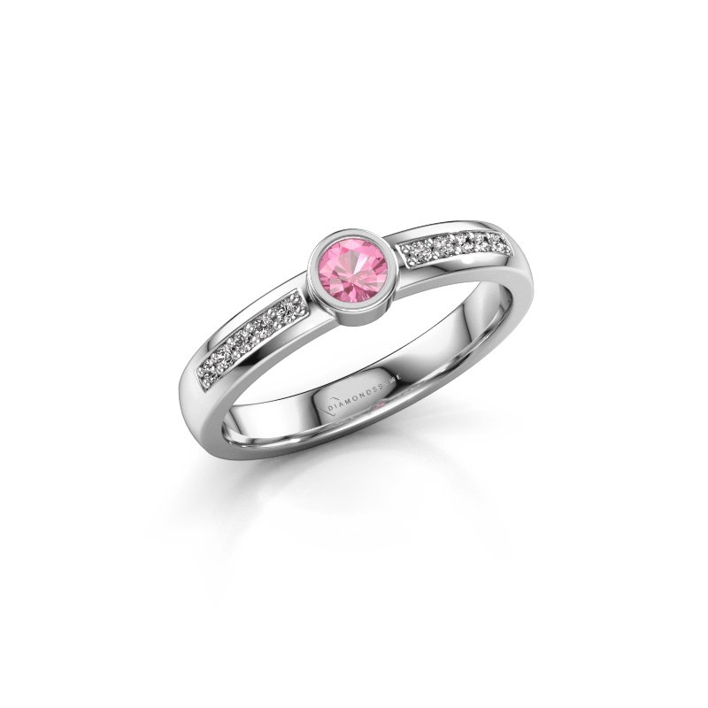 Engagement ring Ise 2 925 silver pink sapphire 3.7 mm