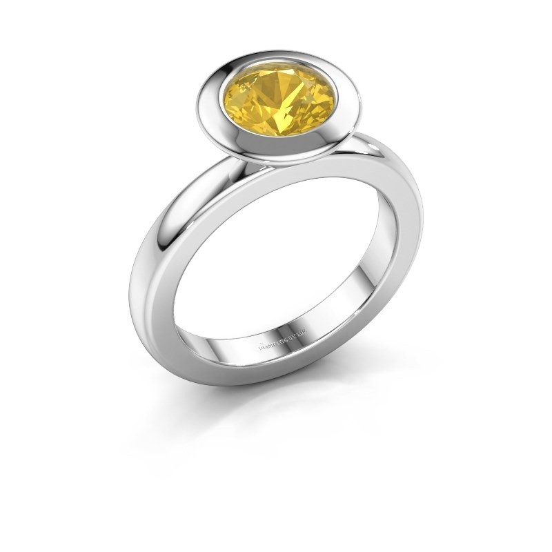 Stacking ring Trudy Round 585 white gold yellow sapphire 7 mm