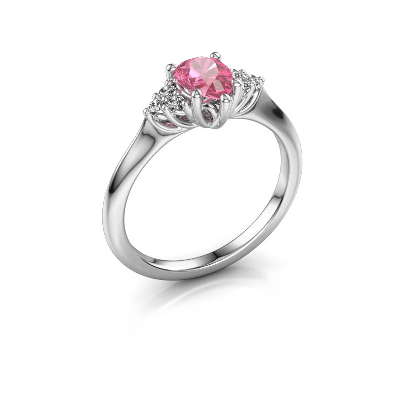 Verlovingsring Felipa per 950 platina roze saffier 7x5 mm