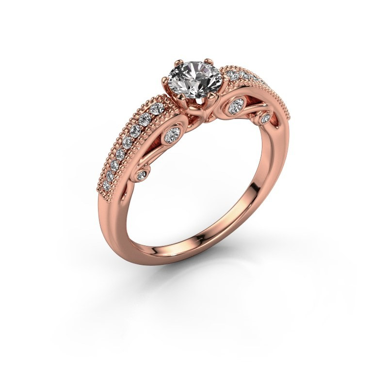 Verlovingsring Christeen 375 rosé goud diamant 0.63 crt