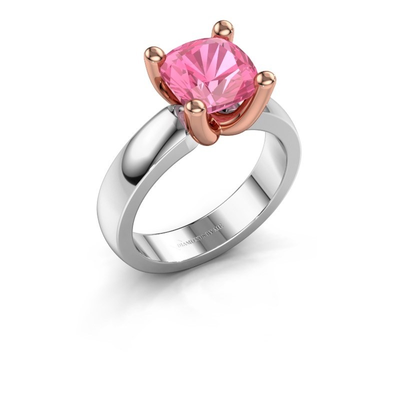 Ring Clelia CUS 585 witgoud roze saffier 8 mm