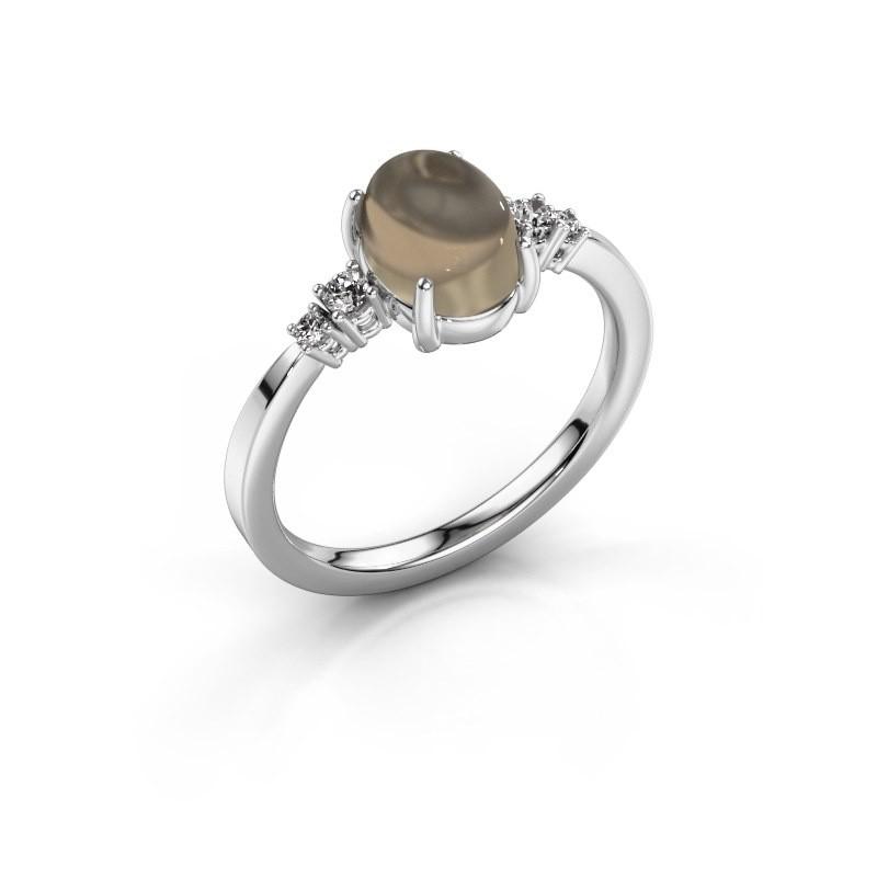 Ring Jelke 925 zilver rookkwarts 8x6 mm