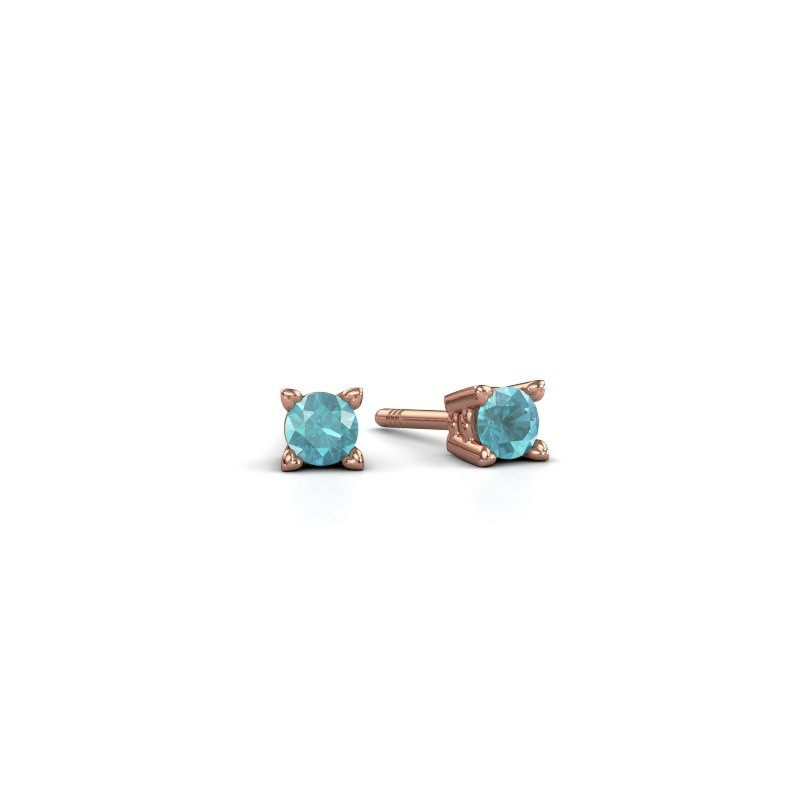 Oorknopjes Cather 375 rosé goud blauw topaas 3.7 mm