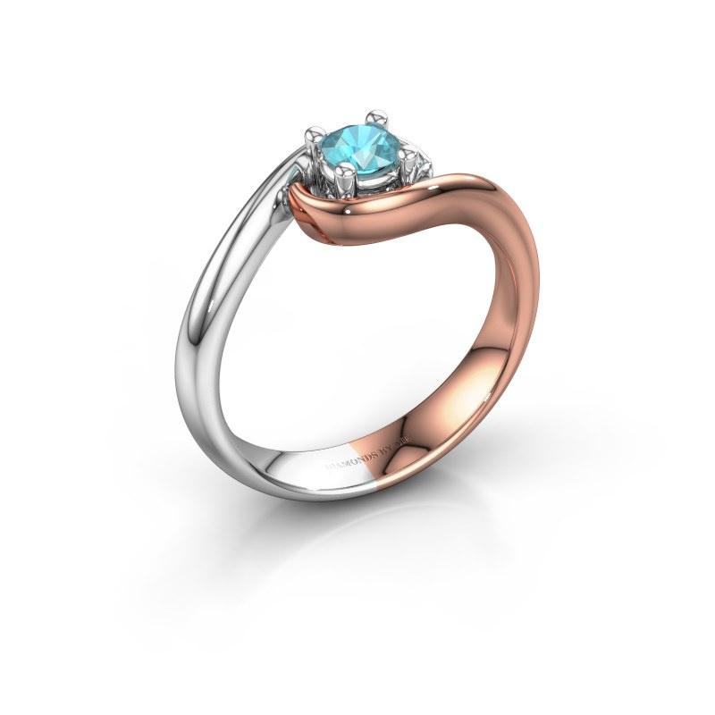 Ring Linn 585 rosé goud blauw topaas 4 mm