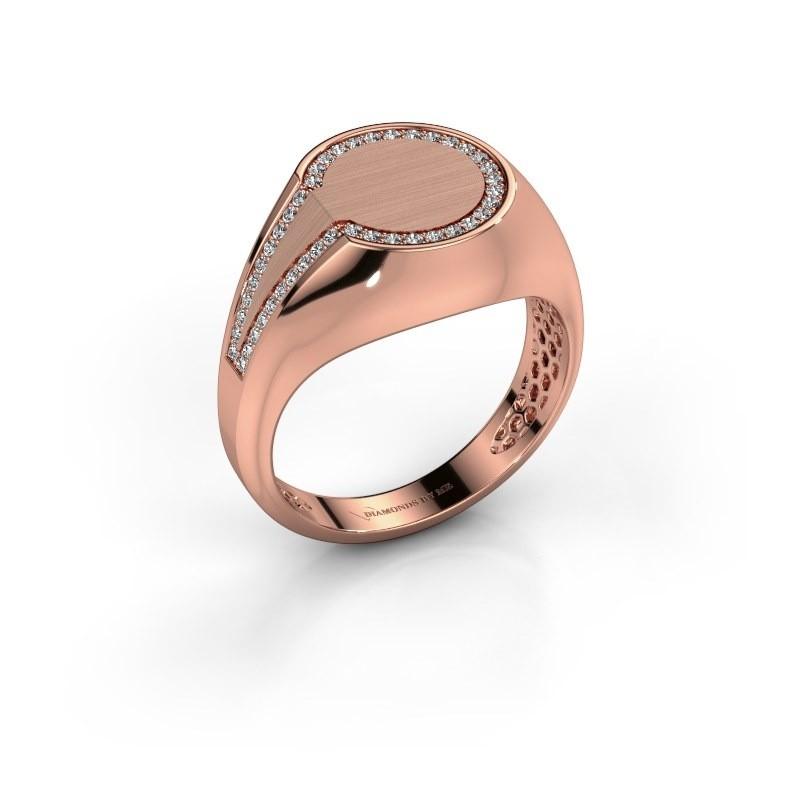 Men's ring Gijs 375 rose gold zirconia 1 mm