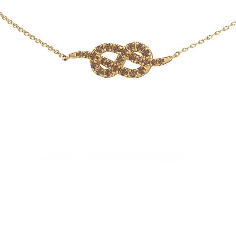 Collier barre Infinity 1 375 or jaune diamant brun 0.328 crt