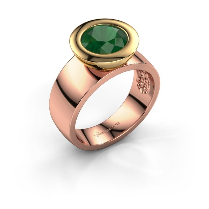 Ring Maxime 585 rosé goud smaragd 8 mm
