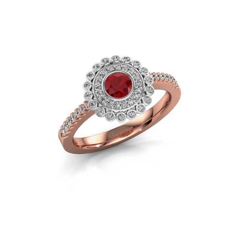 Engagement ring Shanelle 585 rose gold ruby 4 mm