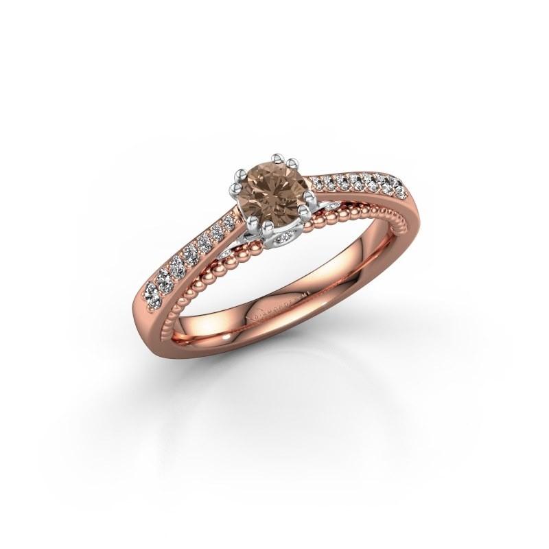Verlovingsring Rozella 585 rosé goud bruine diamant 0.518 crt