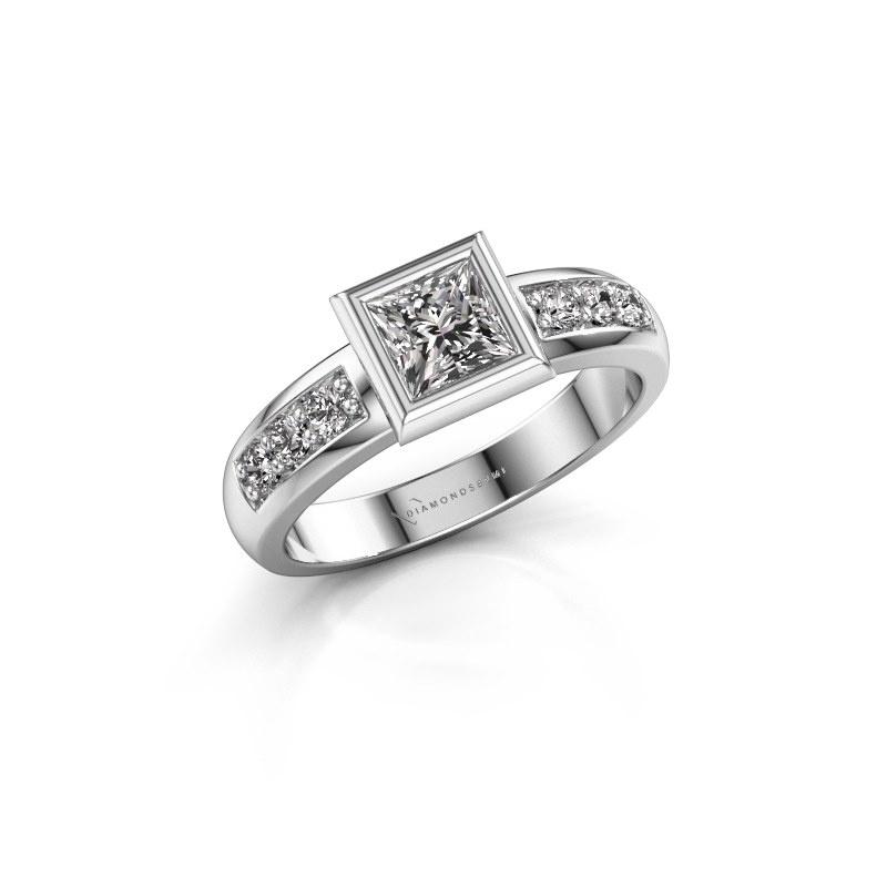 Stacking ring Lieke Square 925 silver diamond 0.680 crt