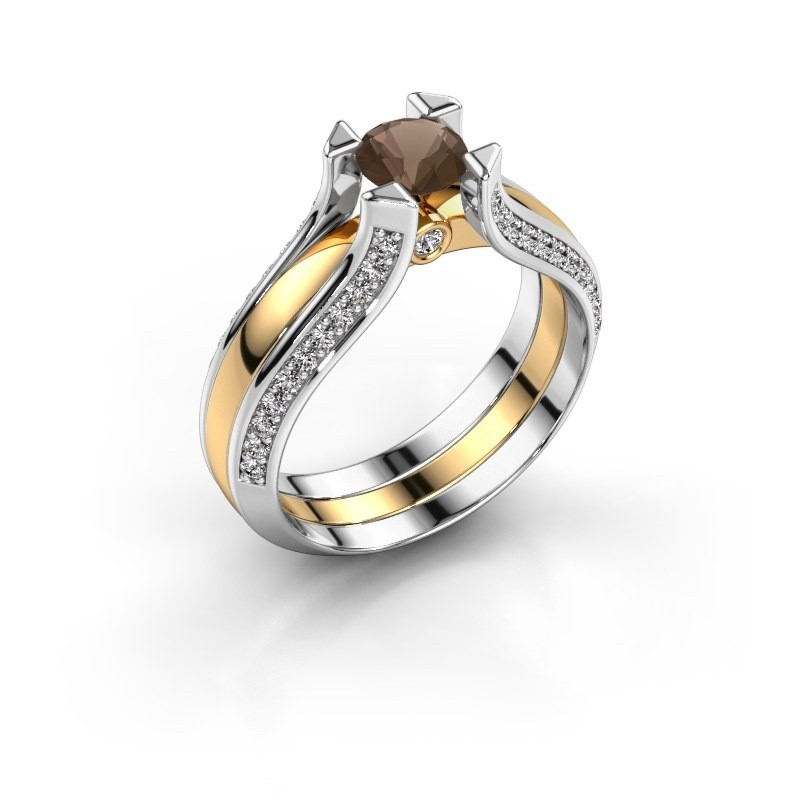 Engagement ring Nadine 585 gold smokey quartz 5 mm