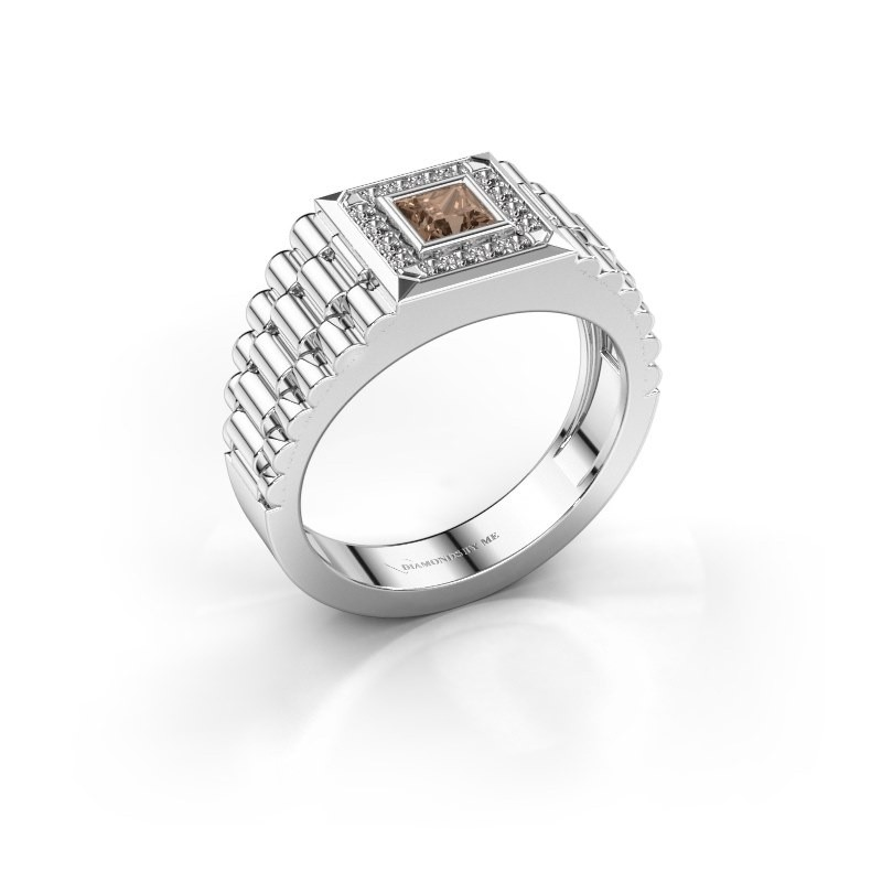 Heren ring Zilan 585 witgoud bruine diamant 0.592 crt