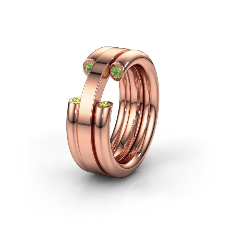 Wedding ring WH6018L 585 rose gold peridot ±8x3 mm