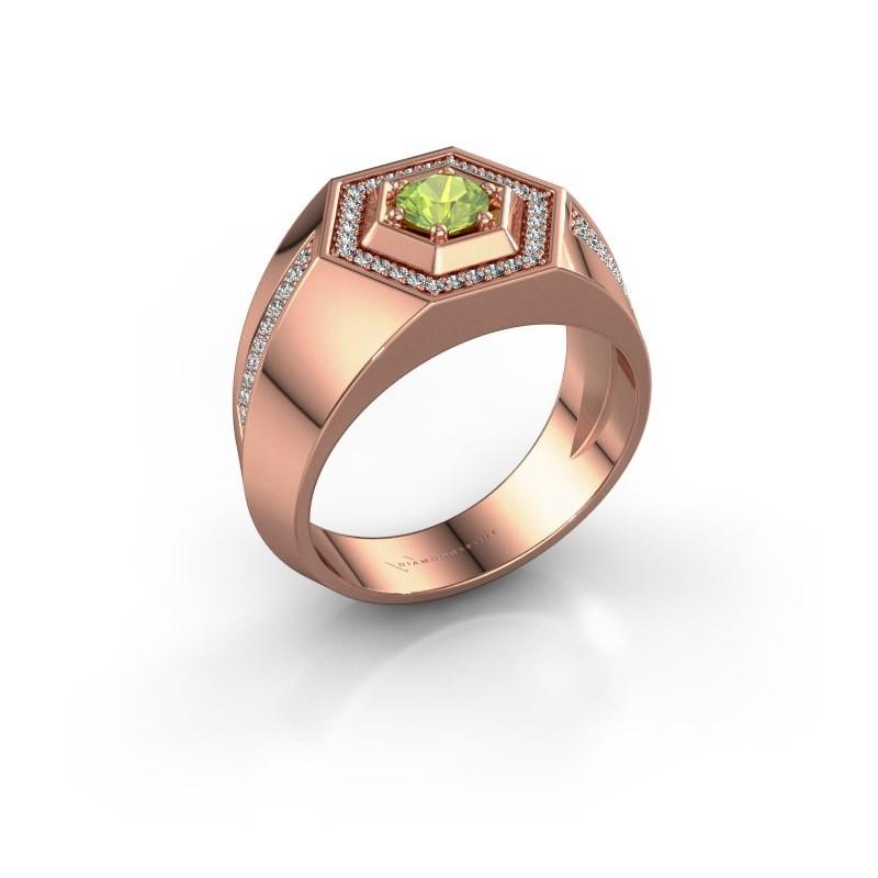 Men's ring Sjoerd 375 rose gold peridot 4.7 mm