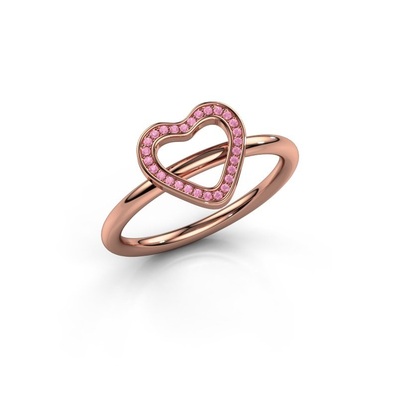 Ring Shape heart large 585 rosé goud roze saffier 0.8 mm
