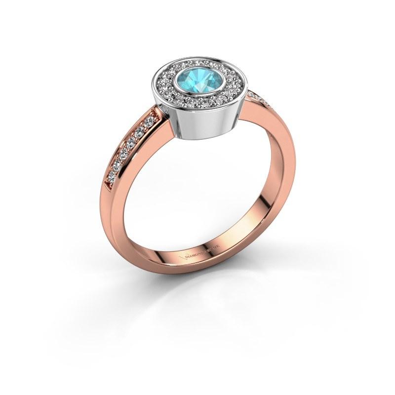 Ring Adriana 2 585 rose gold blue topaz 4 mm