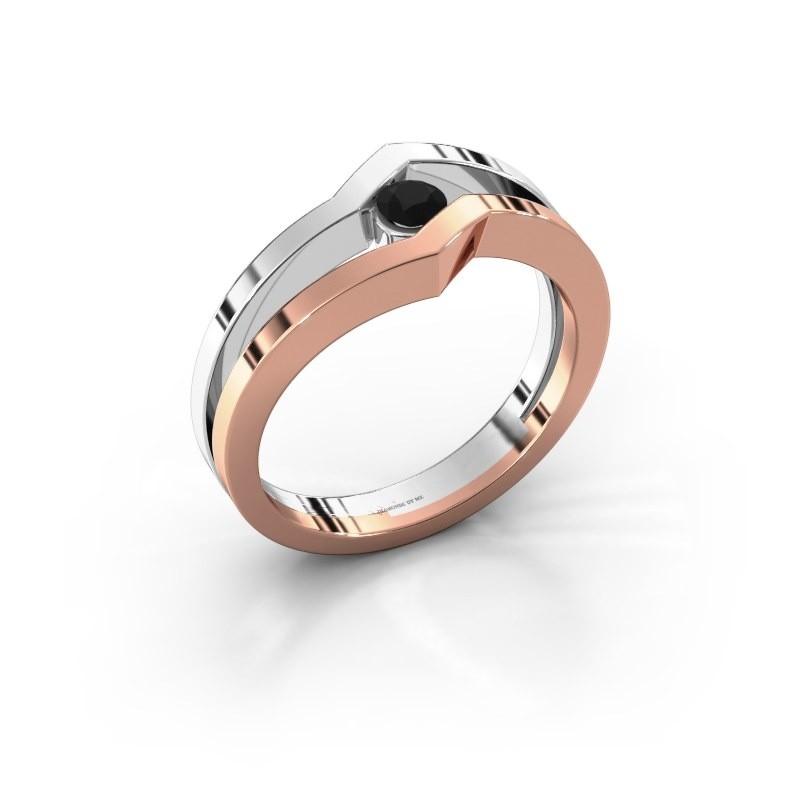 Ring Elize 585 rosé goud zwarte diamant 0.18 crt