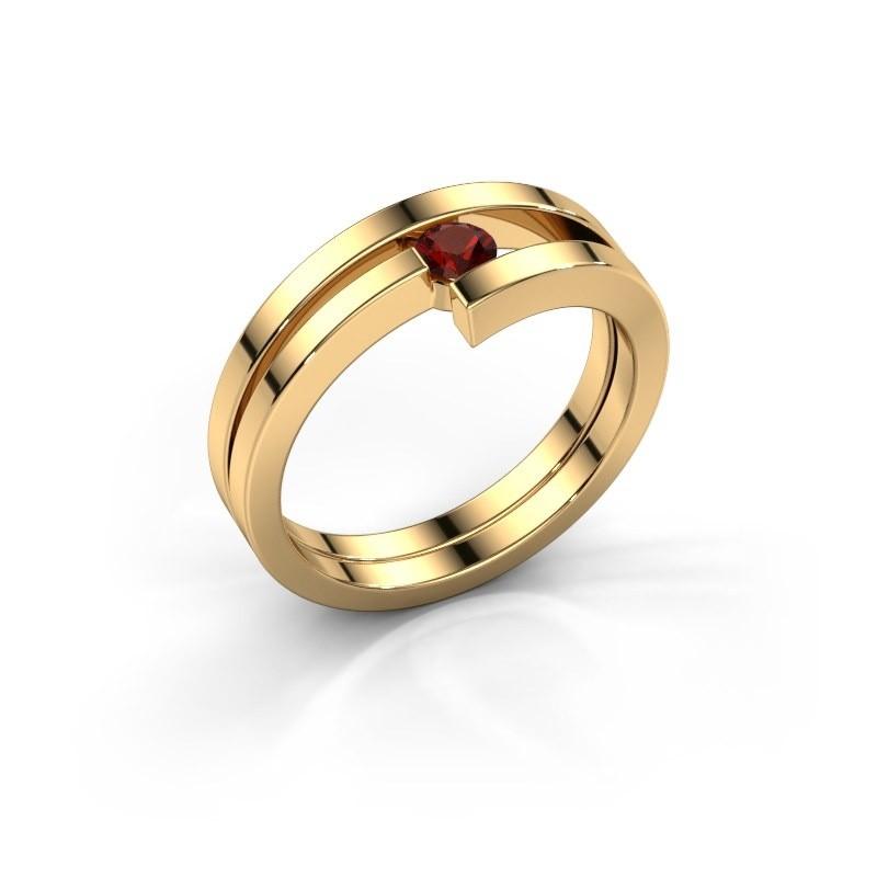Ring Nikia 585 goud granaat 3.4 mm