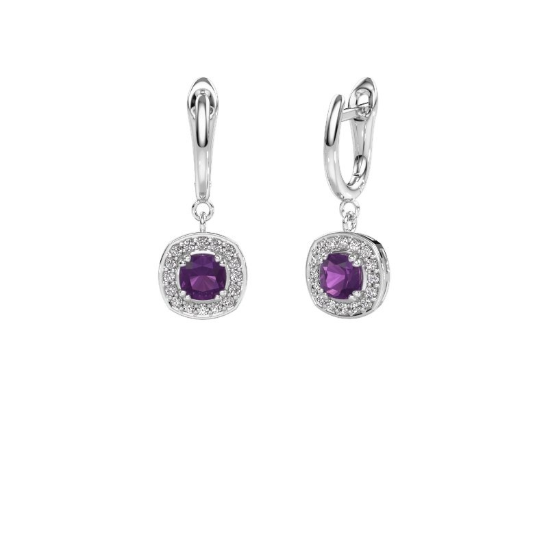 Drop earrings Marlotte 1 585 white gold amethyst 5 mm