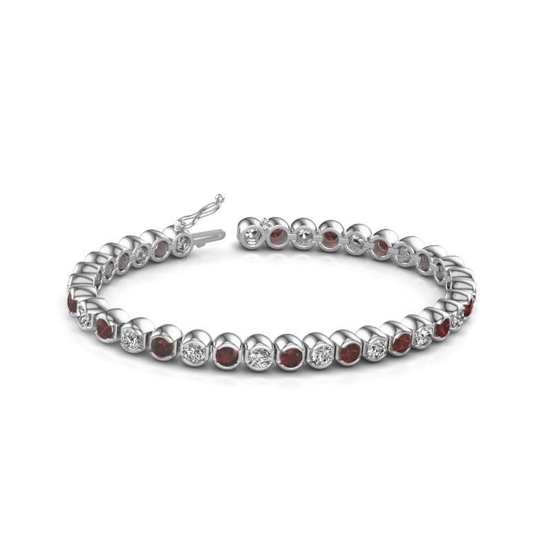 Tennis bracelet Bianca 585 white gold garnet 4 mm