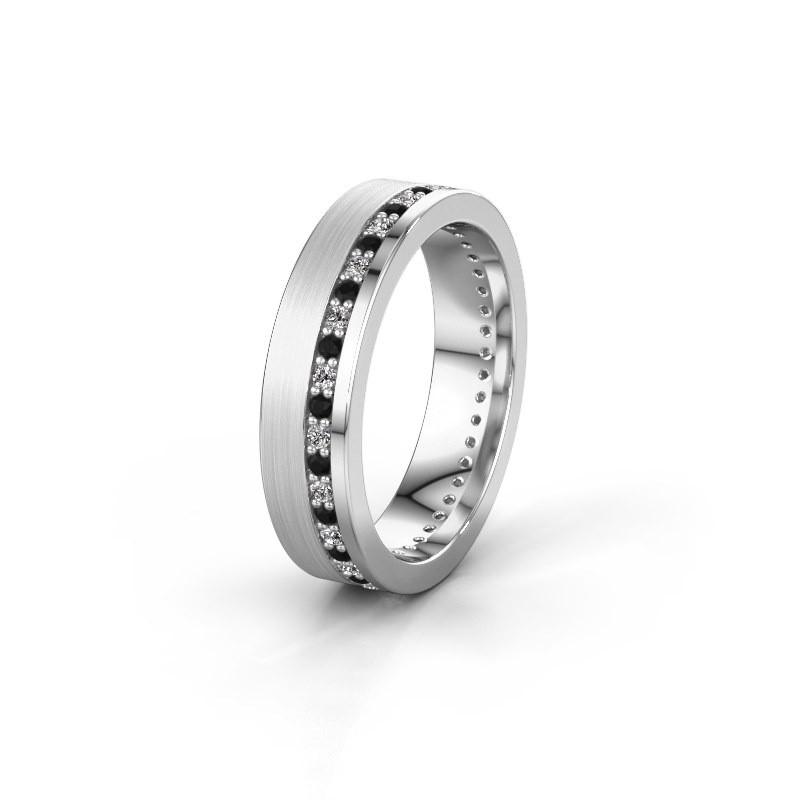 Trouwring WH0303L15BPM 950 platina zwarte diamant 0.484 crt ±5x2 mm